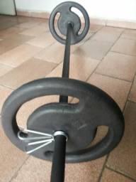 2 barras 40cm 1 de 130mt e 20kg anilhas
