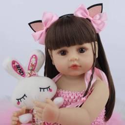 Título do anúncio: Bebê Reborn Rosa Menina 100% Silicone Olhos Castanhos (Pode Dar Banho)