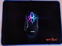 Título do anúncio: Mouse Gamer Weibo WK411 + Mouse Pad - Entrega Grátis!!