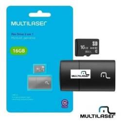 Kit cartão de memória com SD 16gb e adaptador.