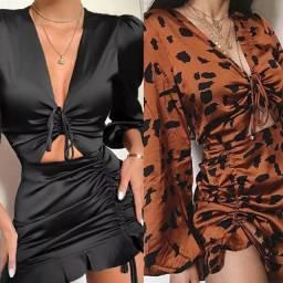 Vestido Feminino Sexy em Cetim Decote em V