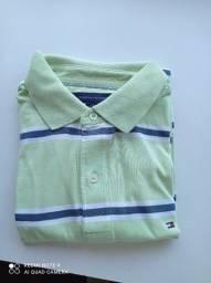 Camisa polo Tommy verde água tamanho M