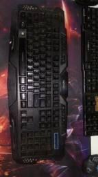 Teclado gamer 3 cores led