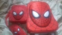 Kit mochila nova nunca usadahomem aranha para mae exigente