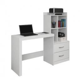 Mesa para Computador com Estante Branca 2 Gavetas Alana JCM Móveis