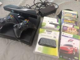 Xbox 360 Slim com Kinect + Jogos + Acessórios : tudo original
