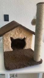 Arranhador Divert Cat para Gatos 2 Plataformas Casa Térrea Bege e Marrom