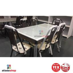 jogo de mesa 6 cadeiras tampo de vidro