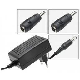 (WhatsApp) fonte chaveada 9v 3a -27w plug p4 + 2 adaptadores 3.5x1,35mm + 2.5x0.8mm - mxt