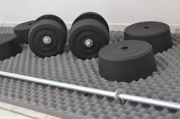 32kg de anilhas caseiras + barras