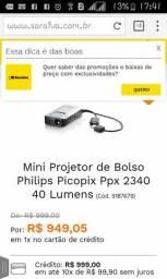 Mini projetor Philips portátil e com bateria interna