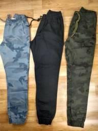 Calças Jogger Camuflada, Preta ou Azul marinho