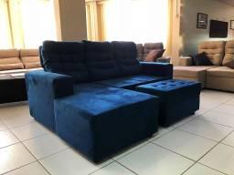 Sofá de 2lug+chaise retrátil reclinável 4.580,00,com entrada 1.145,00+6x572,5-cartão