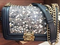 Bolsa De Luxo Chanel Le Boy Com Brilho