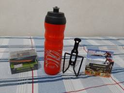 Kit. Garrafa de água 500 ml Térmica + Suporte + Lanterna usb com buzina + Farol Traseiro
