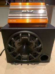 Caixa sub auto 12pol + Módulo amplificador 1400W