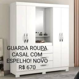 PROMOÇÃO! GUARDA ROUPA CASAL COM ESPELHO NOVO! Na caixa