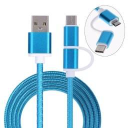 Cabo 2 em 1 Micro USB + Tipo C (Funciona modo TurboPower) Carregamento rápido