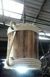Luminária Rústica Pendente em Tora de Acácia