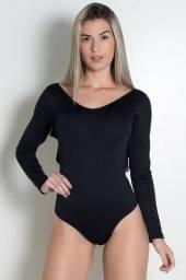 Body Liso Costa Aberta com Babado (Preto)