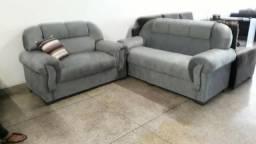 Lindo sofa 3x2 lugares em tecido em suede novo