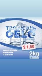 Gelo em cubos tipo dose 2kg