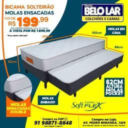 Bi-Cama Solteirão Molas Ensacadas, Compre no zap *