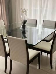Mesa de jantar base em madeira maciça tampo blindex com 6 cadeiras em couro branco