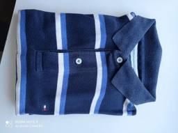Camisa polo Tommy tamanho M azul com listrado em branco