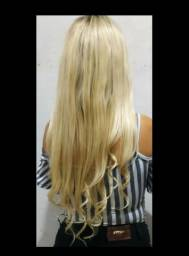 Peruca importada Lace de luxo fronte de orelha à orelha ( cabelo 100% humano)