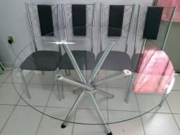 Mesa copa 4 cadeiras (tampo vidro/ferro cromado)