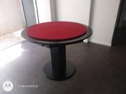 Mesa Carteado Cor Preta Tecido Vermelho Mod. NUNE1191