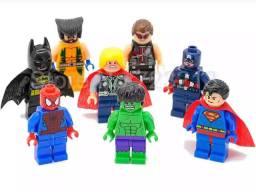 Boneco Thor Hulk Superman Homem aranha Capitão kit 8 Lego
