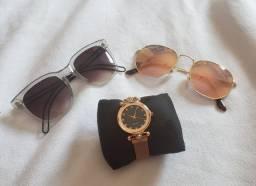 Kit acessórios óculos e relogio
