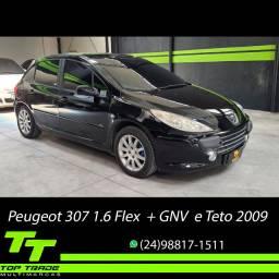 Peugeot 307 Presence 1.6 Flex + GNV Manual c/Teto Solar 2009