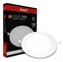 Painel Plafon Led 18w Redondo Embutir Branco Frio Luminária