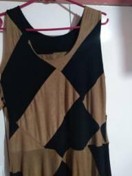 Vestido de camurça marrom e preto