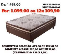 Conjunto Box Espuma D33 Casal- Cama Casal Espuma D33- CJ- Saldão em MS