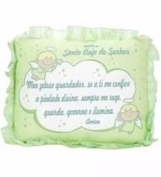 Travesseiro Infantil Cia Do Neném Santo Anjo Verde 35x28