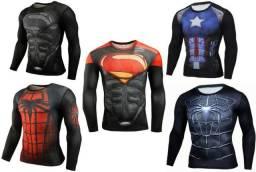 Camisa Compressão musculação Herois Batman Spider Super Homen Pantera Negra Invernal 3D