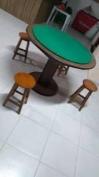 Mesa Carteado Cor Imbuia Tecido Verde Mod. WSFU3793