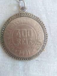 Moeda de 400 reis mais relógio antigo de Bolso