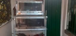 Título do anúncio: 2 fornos guilhotina á gás, grátis assadeira 58x69 perfurada chapa