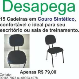 ¨6 Cadeiras para escritório recepção em couro sintético