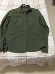 Camisa jeans verde musgo