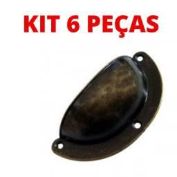 Kit 6 Peças Puxador Concha Rustico Cobre Metal