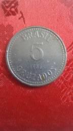 Moeda 5 cruzados 1986