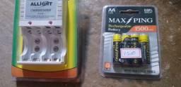 Carregador de pilhas + pilhas usados 1x
