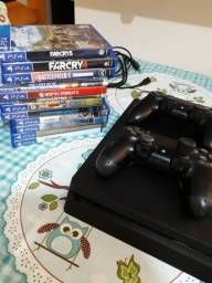 Ps4 slim 500gb 2 controles e jogos
