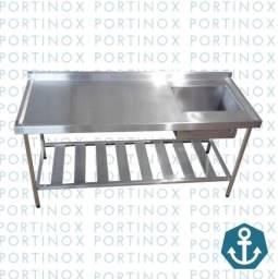 Pia inox 130x060 com prateleira gradeada 1 cuba tanque